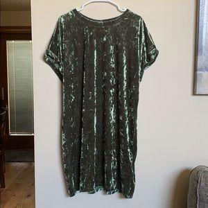 Olive green velvet T Shirt dress